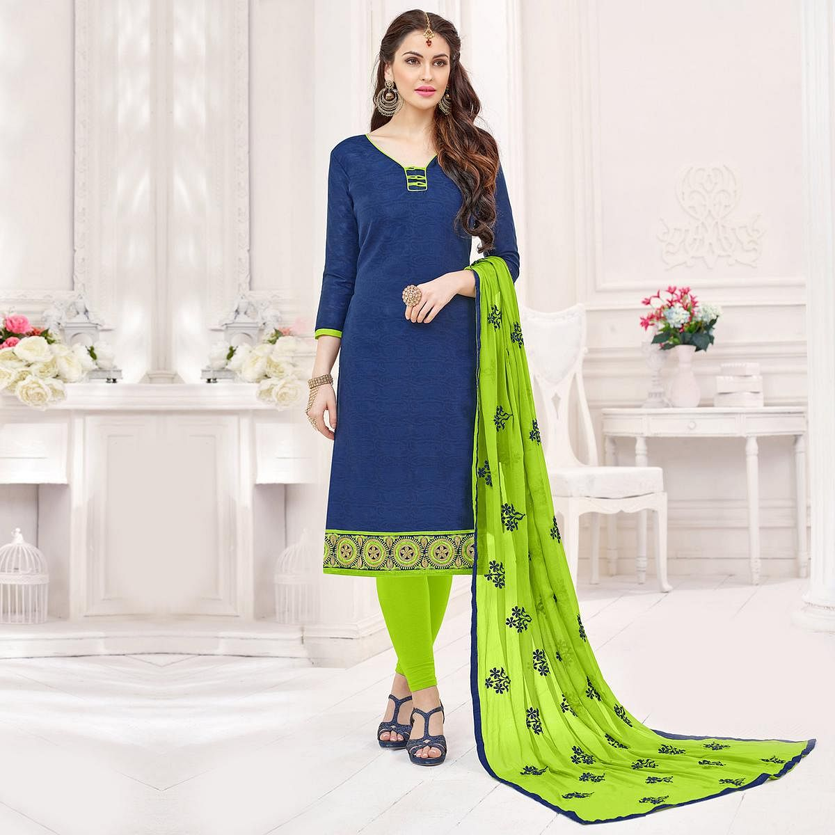 Navy-Green Partywear Embroidered Bombay Jacquard Salwar Suit