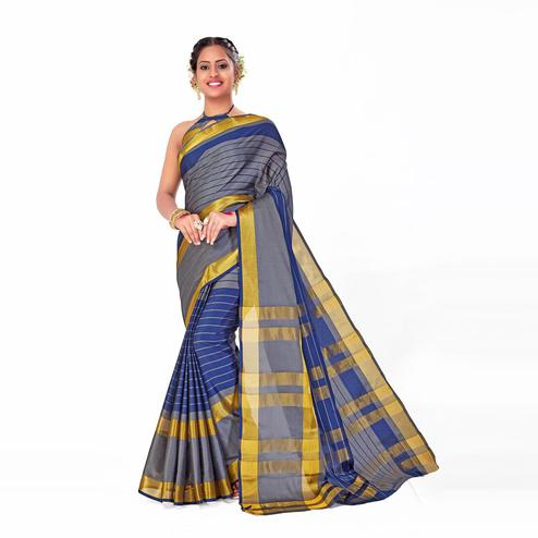 Amegh - Grey-Blue Colored Festive Wear Woven Cotton Silk Saree