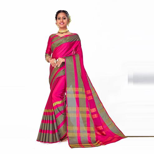 Amegh - Pink Colored Festive Wear Woven Banarasi Silk Saree With Tassels