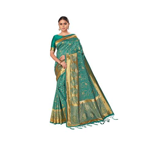 Amegh - Green Colored Festive Wear Woven Banarasi Silk Saree With Tassels