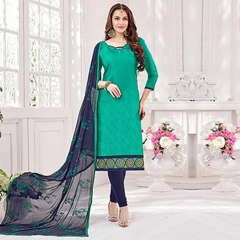 Green-Navy Partywear Embroidered Bombay Jacquard Salwar Suit