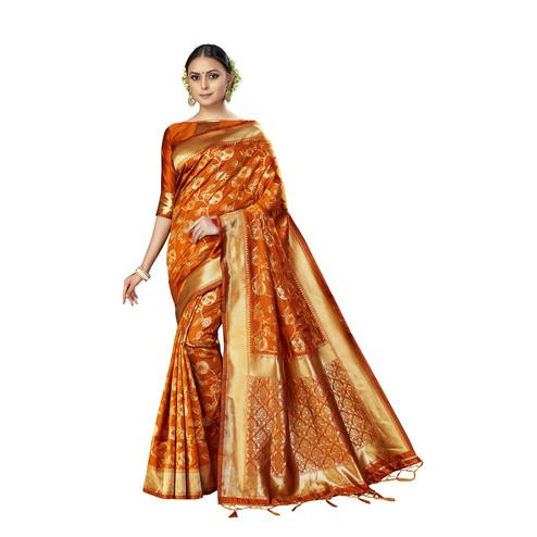 Amegh - Orange Colored Festive Wear Woven Banarasi Silk Saree With Tassels