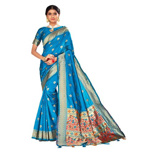Amegh - Blue Colored Festive Wear Woven Banarasi Silk Saree With Tassels