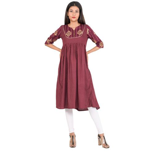 Aurish - Women Maroon Colored Foil Printed Rayon A Line Kurti