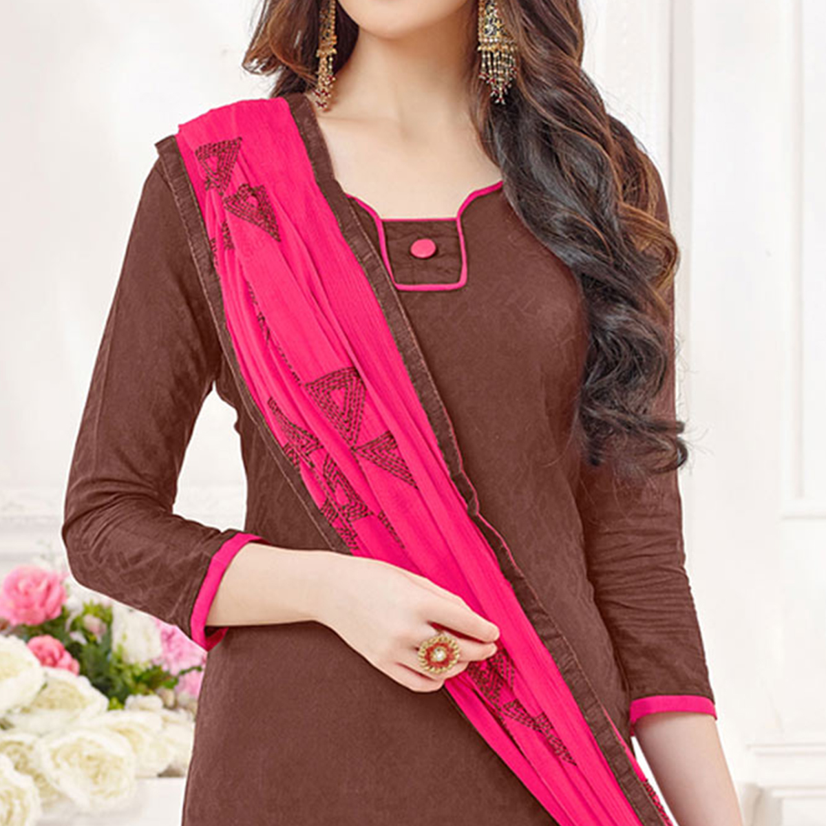 Brown-Pink Partywear Embroidered Bombay Jacquard Salwar Suit