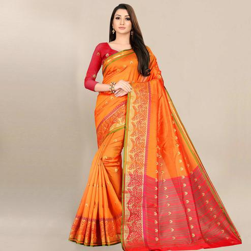 Lovely Orange Colored Festive Wear Woven Art Silk Saree