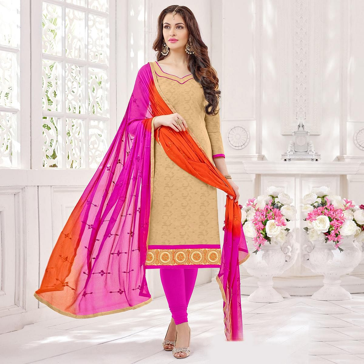 Beige-Pink Partywear Embroidered Bombay Jacquard Salwar Suit