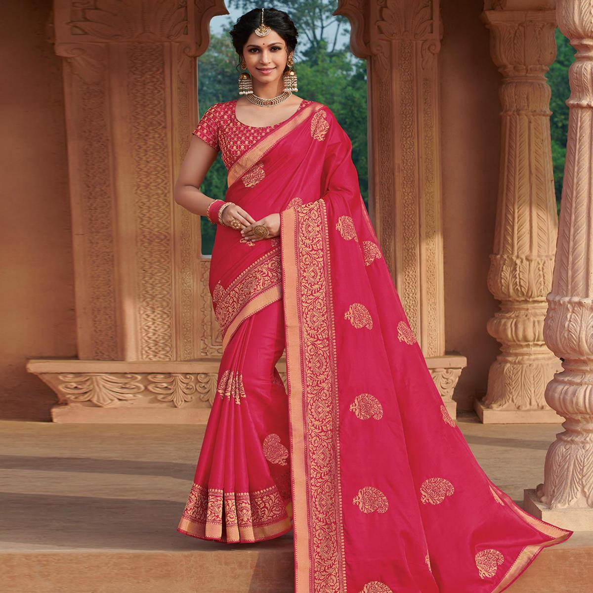 Magnetic Rani Pink Colored Partywear Embroidered Tussar Silk Saree