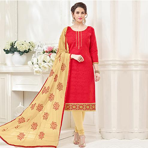 Red-Beige Partywear Embroidered Bombay Jacquard Salwar Suit