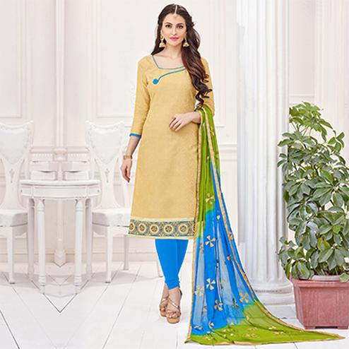 Beige-Blue Partywear Embroidered Bombay Jacquard Salwar Suit