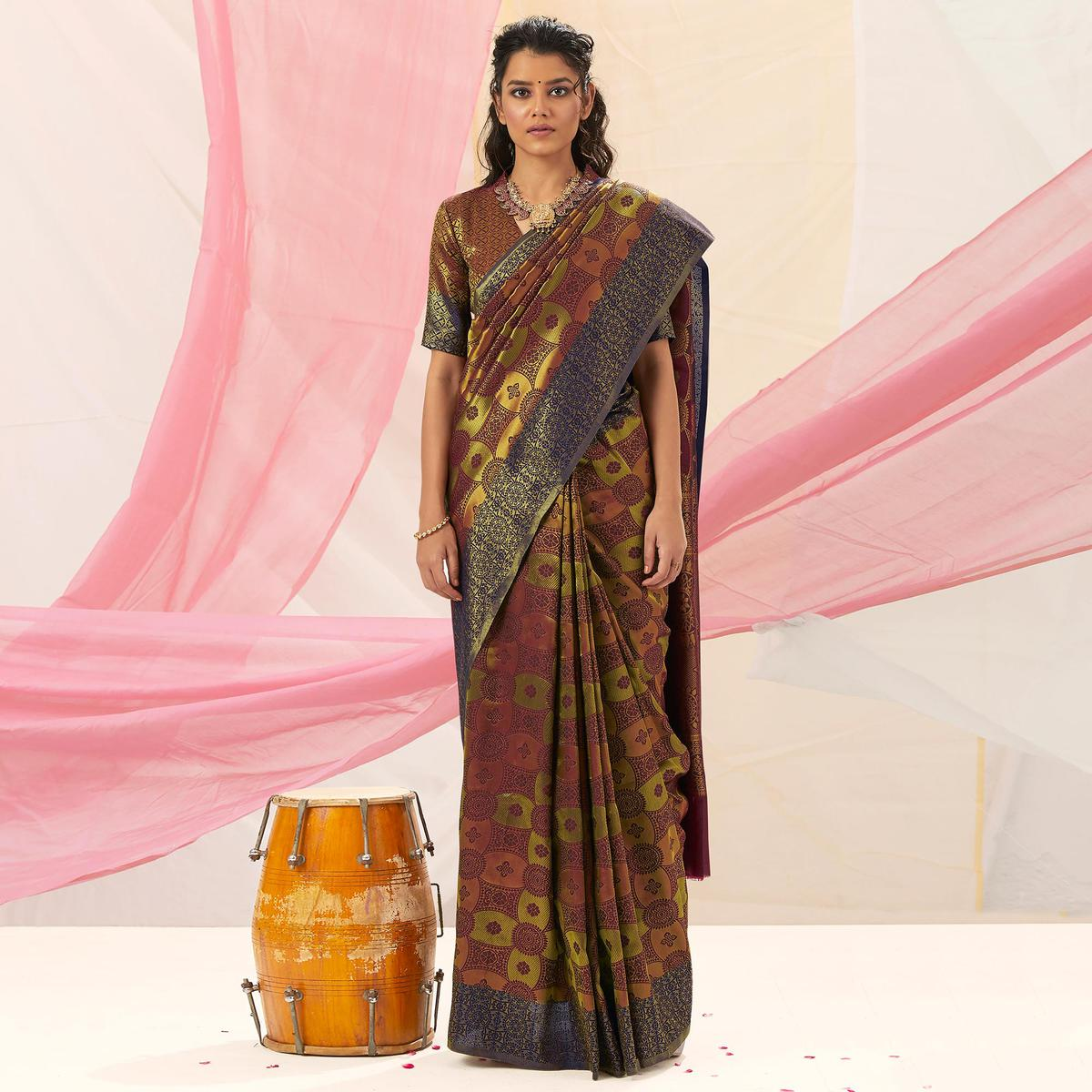 Blooming Green - Brown Colored Festive Wear Woven Soft Silk Saree