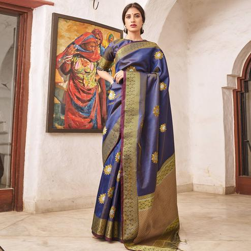 Charming Blue Colored Festive Wear Woven Soft Silk Saree