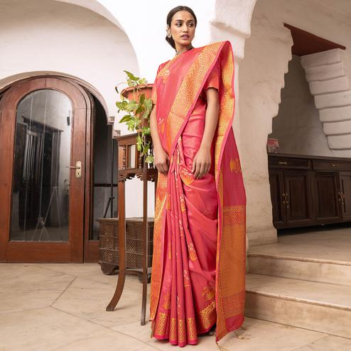 Jazzy Peach Colored Festive Wear Woven Soft Silk Saree