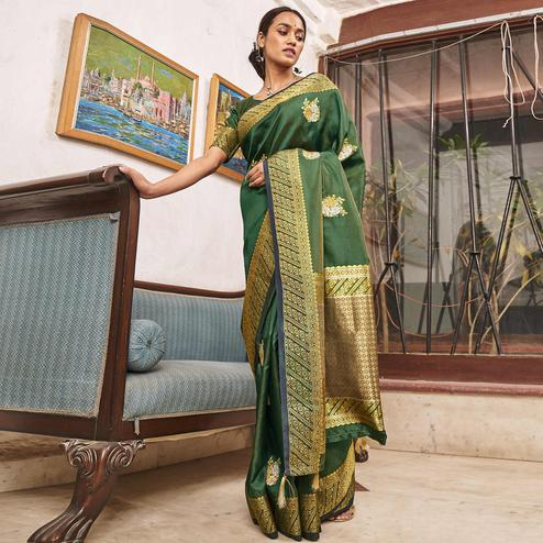 Delightful Green Colored Festive Wear Woven Soft Silk Saree