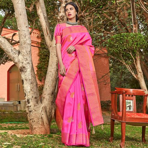 Engrossing Pink Colored Festive Wear Woven Soft Silk Saree