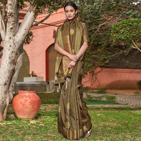 Captivating Brown Colored Festive Wear Woven Soft Silk Saree