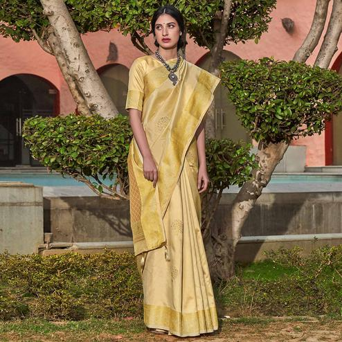 Innovative Cream Colored Festive Wear Woven Soft Silk Saree