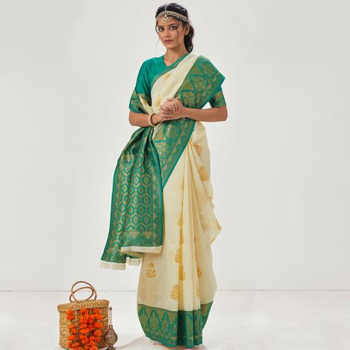 Gorgeous Cream - Green Colored Festive Wear Woven Soft Silk Saree
