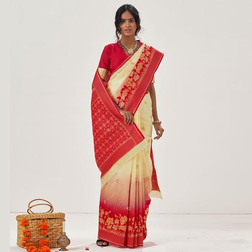 Blissful Cream - Red Colored Festive Wear Woven Soft Silk Saree