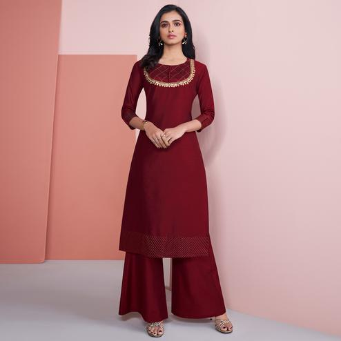 Ideal Maroon Colored Partywear Embroidered Pure Viscose Silk Palazzo Suit