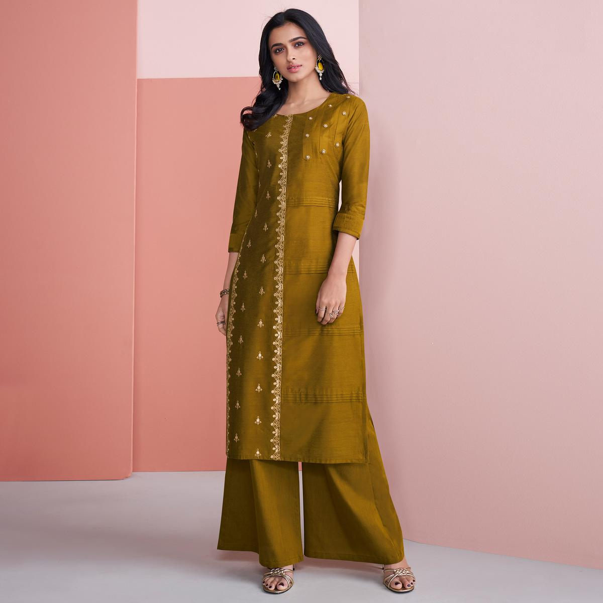 Mesmerising Mehendi Green Colored Partywear Embroidered Pure Viscose Silk Palazzo Suit