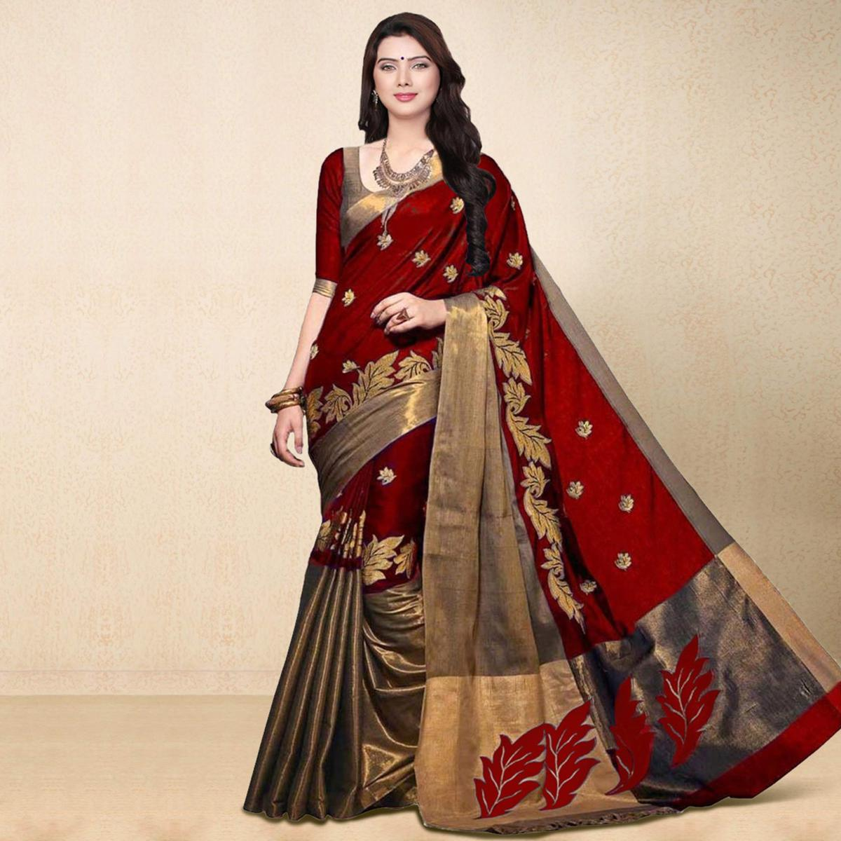 Red Cotton Zari Weaved Saree