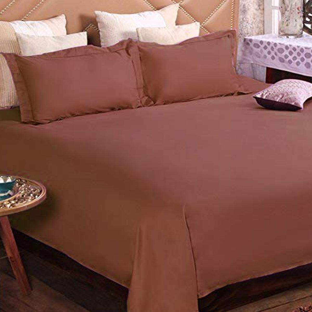 Bombay Dyeing Coffee Brown Colored Rosie Plains Cotton Double Bedsheet with 2 Pillow Covers