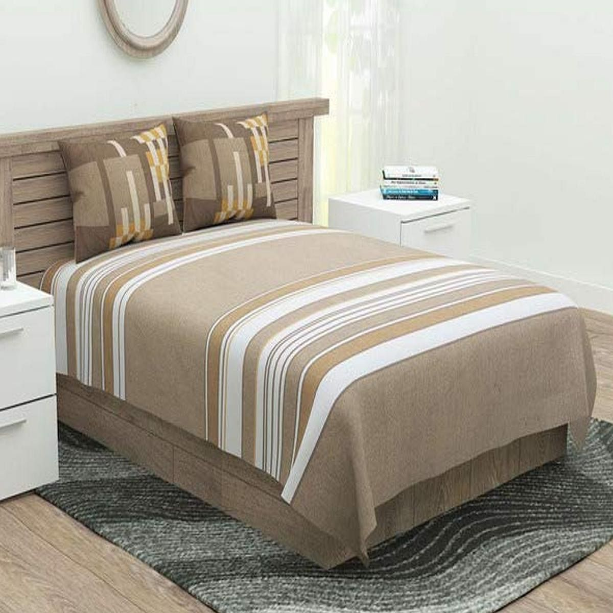 Portico York Cadence 144 TC Striped Printed King Bedsheet with 2 Pillow Covers - Brown