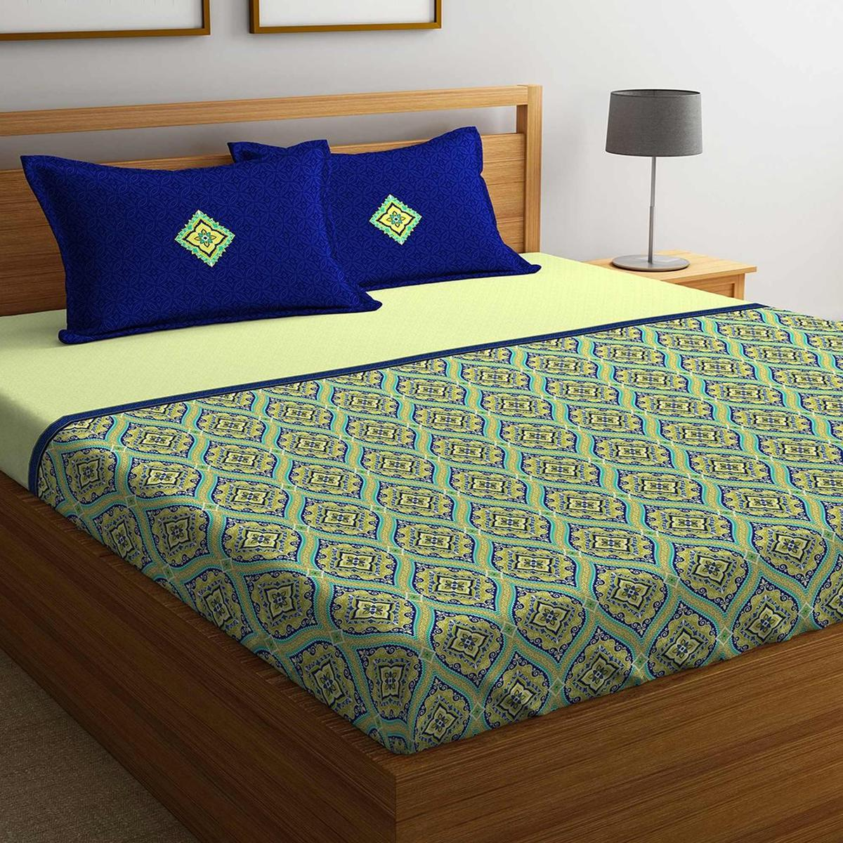 Portico Green-Blue Colored Printed Cotton Double Bedsheet with 2 Pillow Cover