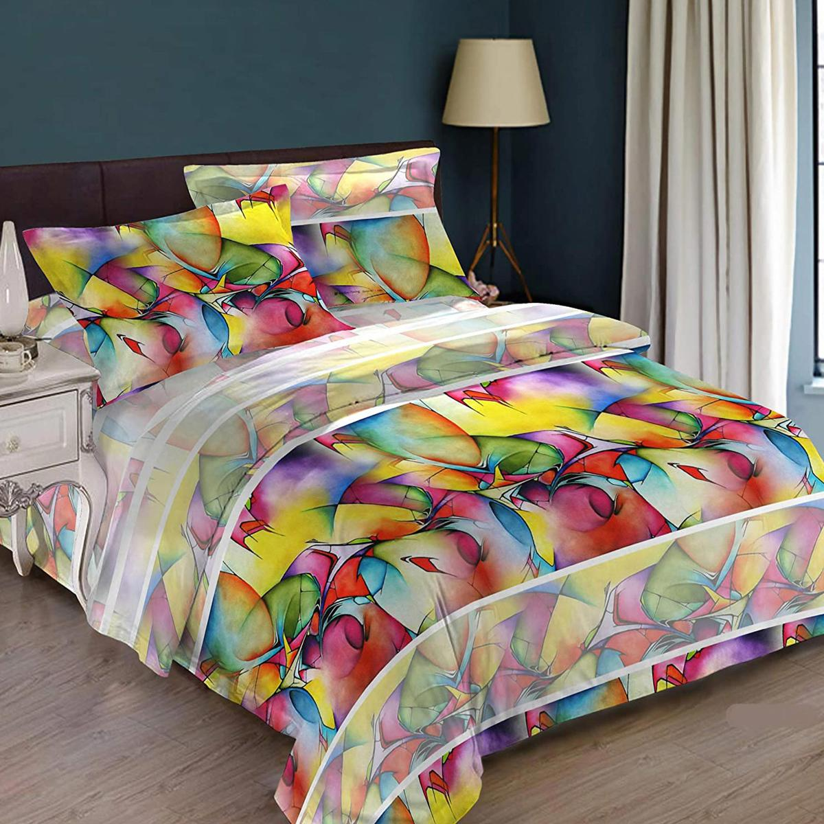 Bombay Dyeing Multi Colored Grandiose 100% Cotton One Queen Size Bedsheet with 2 Pillow Covers