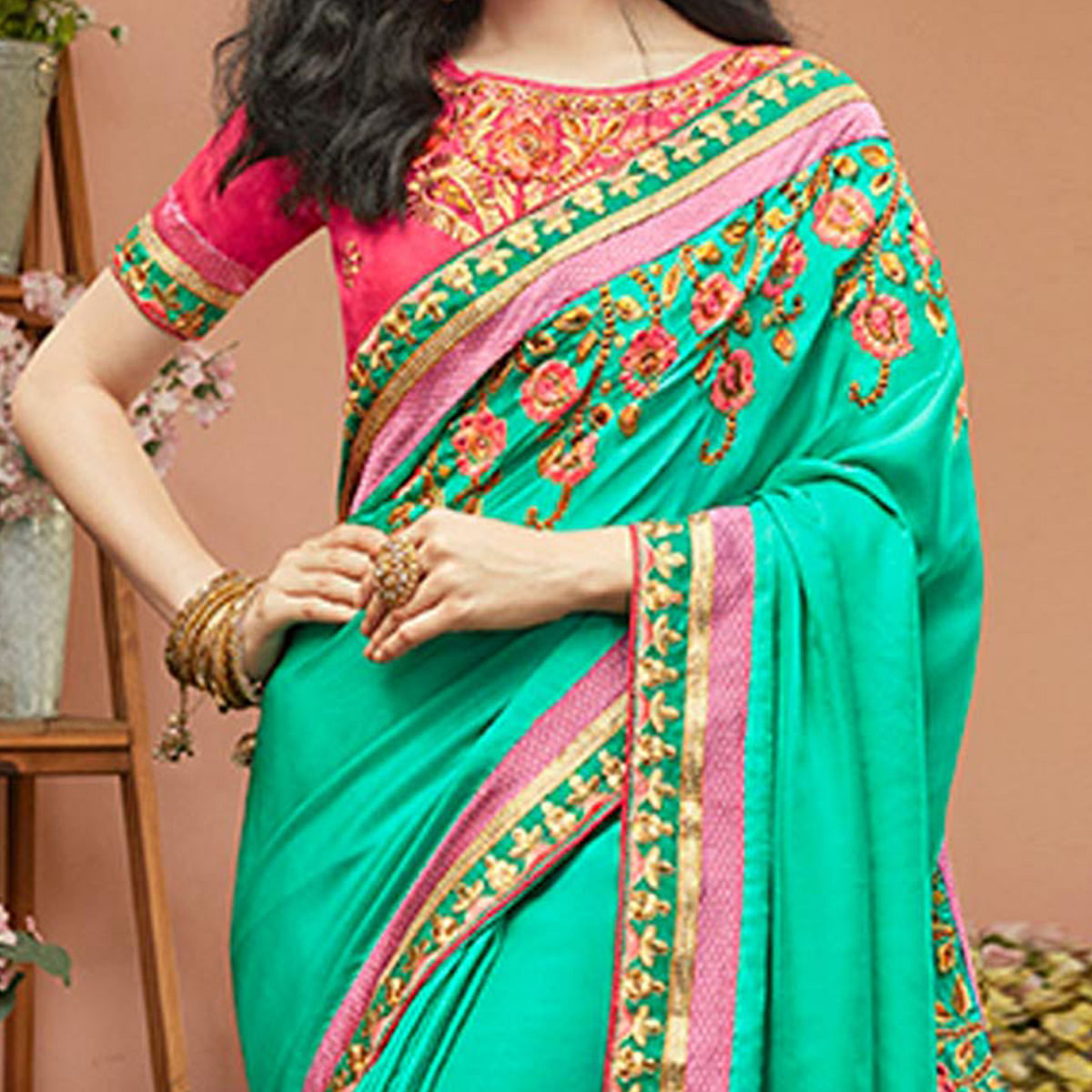 Charming Green Designer Embroidered Partywear Satin Silk Saree
