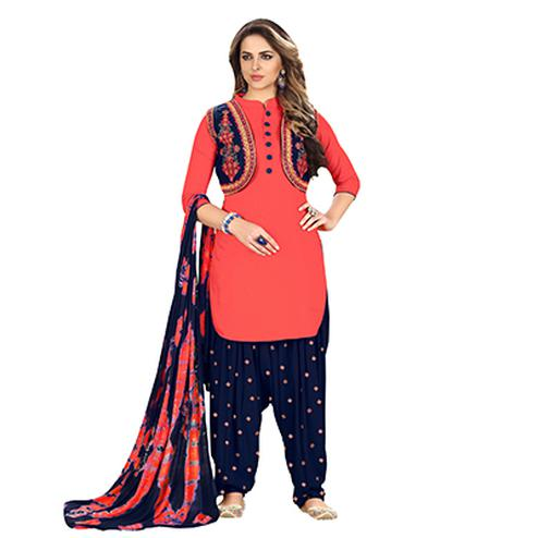 Flamboyant Orange Designer Embroidered Partywear Glaze Cotton Patiyala Suit