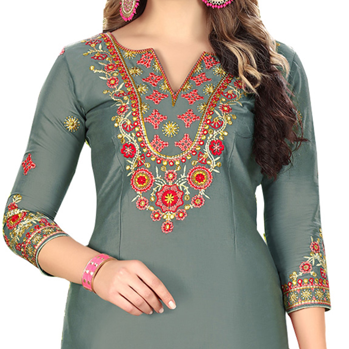 Graceful Gray Designer Embroidered Partywear Glaze Cotton Patiyala Suit
