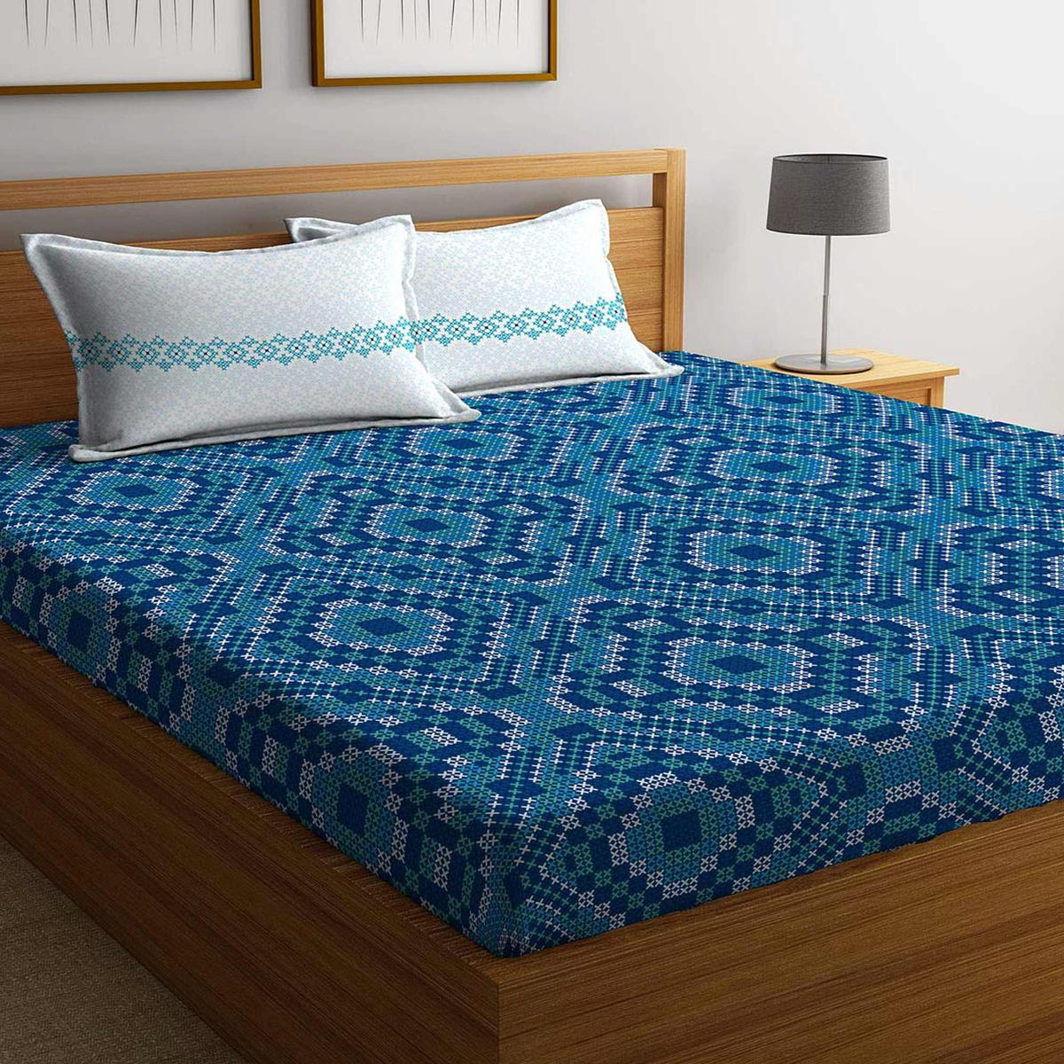 Stellar Home USA IRIS Printed Cotton 104 TC Double Bedsheet with 2 Pillow Cover