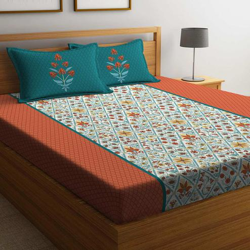 Portico York Archie 210 TC Double Bedsheet with 2 Pillow Covers - Multicolour