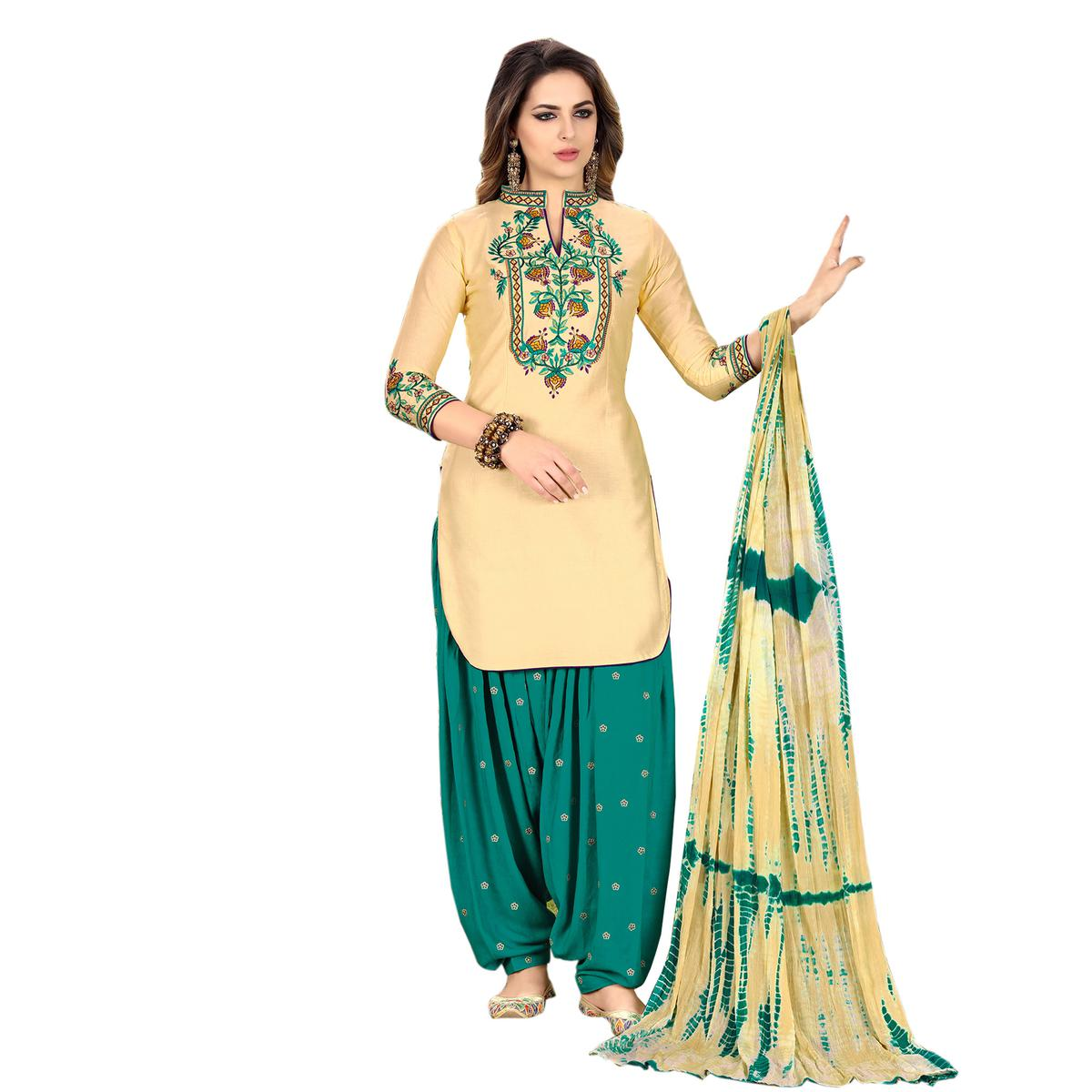 Classy Cream Designer Embroidered Partywear Glaze Cotton Patiyala Suit