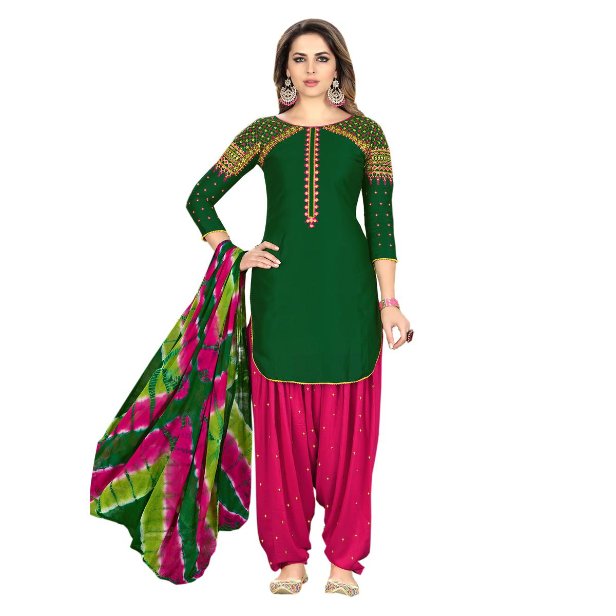 Gorgeous Green Designer Embroidered Partywear Glaze Cotton Patiyala Suit