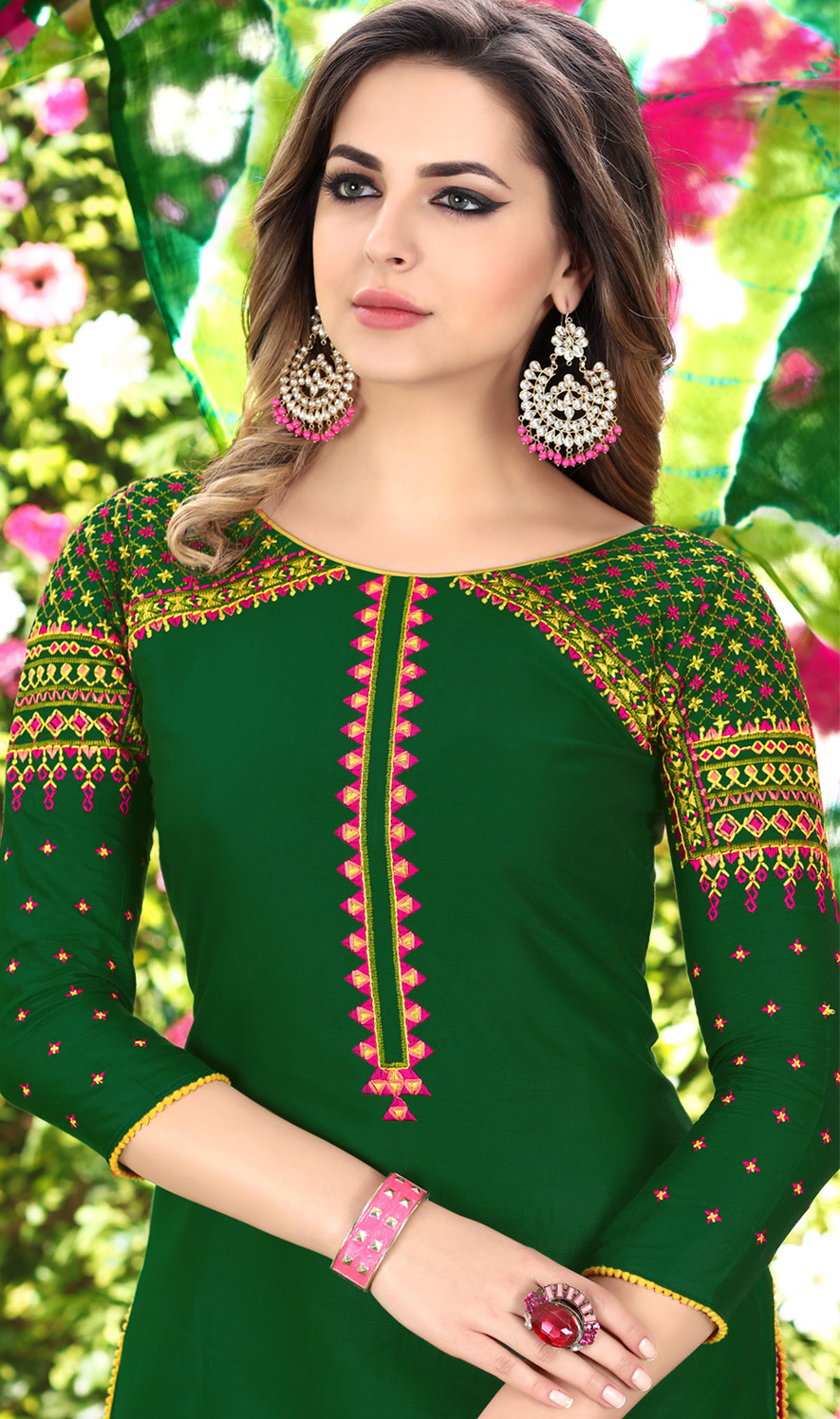 Gorgeous Green Designer Embroidered Partywear Glaze Cotton Patiala Suit