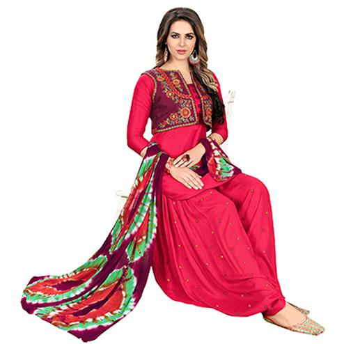 Hot Red Designer Embroidered Partywear Glaze Cotton Patiyala Suit