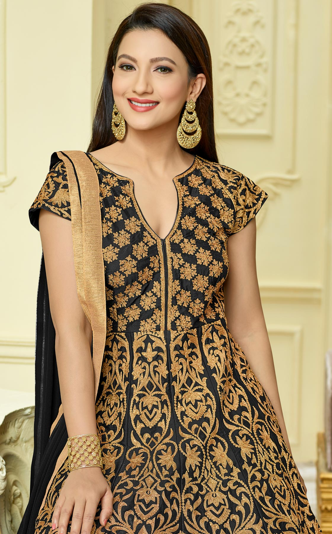 Stunning Black Designer Embroidered Partywear Taffeta Silk Anarkali Suit