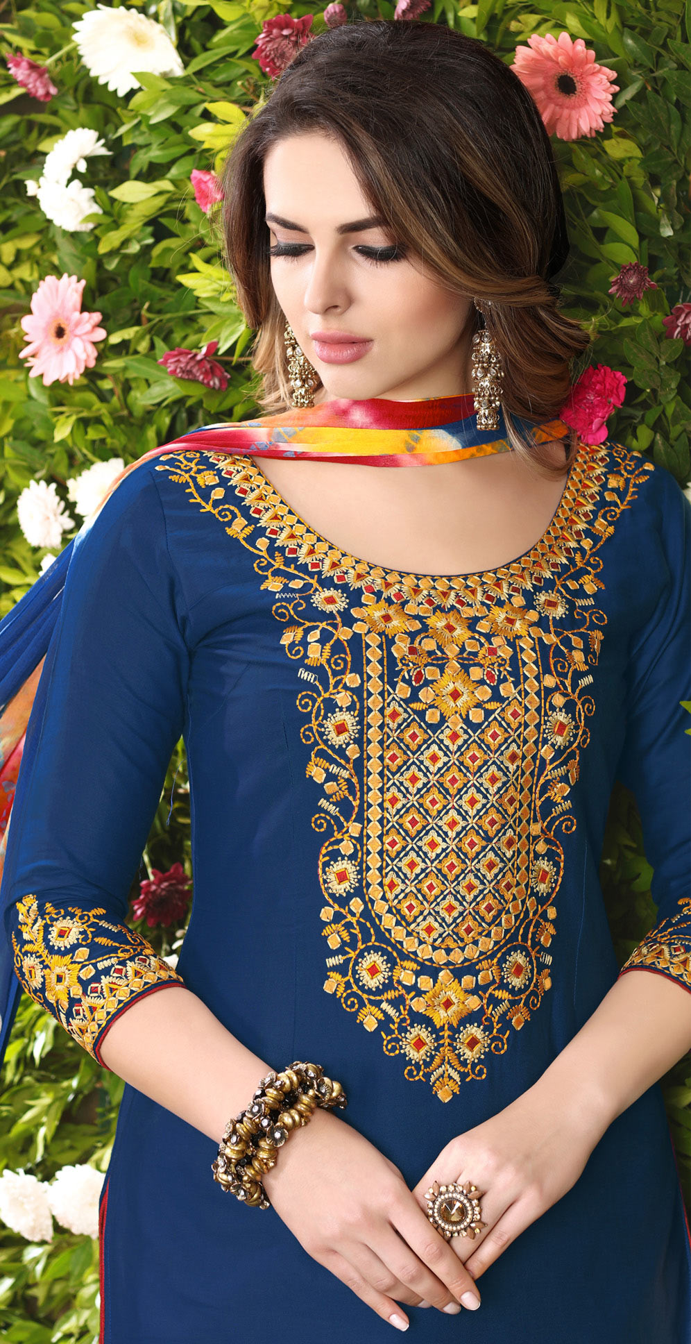 Dazzling Blue Designer Embroidered Partywear Glaze Cotton Patiyala Suit