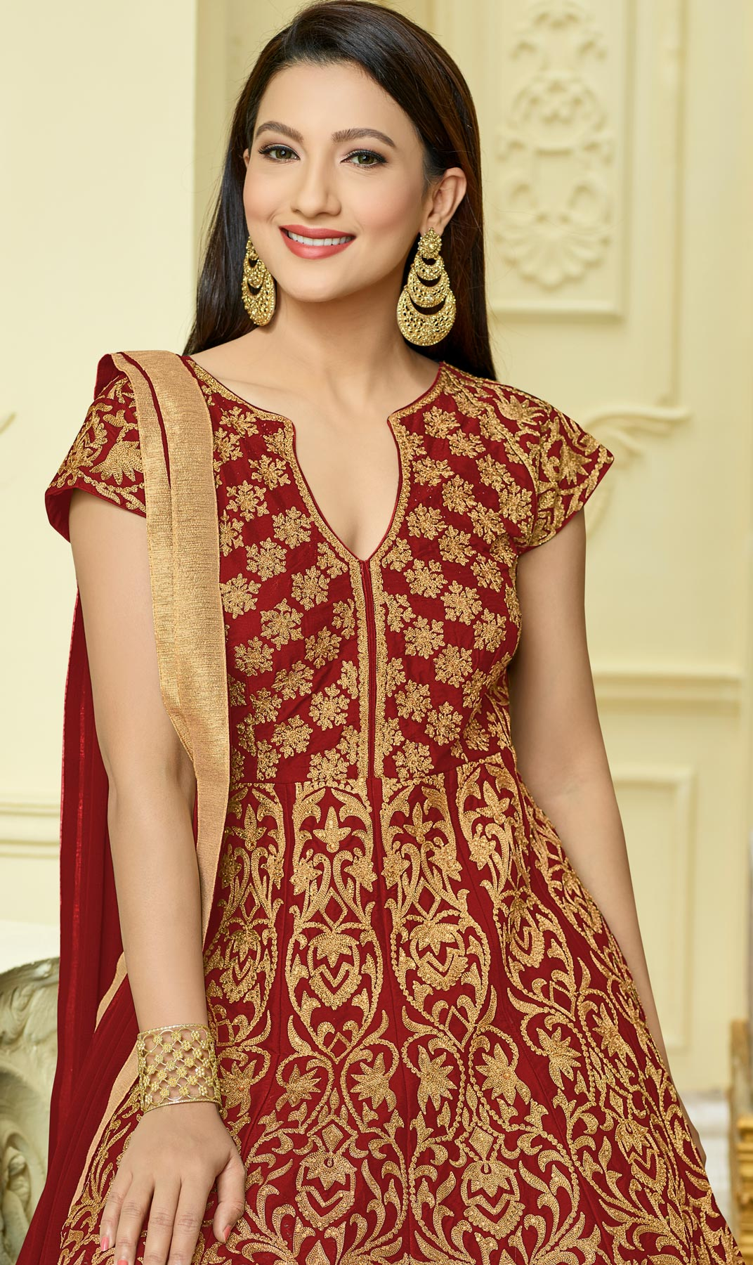 Hot Red Designer Embroidered Partywear Taffeta Silk Anarkali Suit