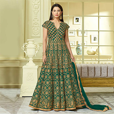 Gorgeous Green Designer Embroidered Partywear Taffeta Silk Anarkali Suit