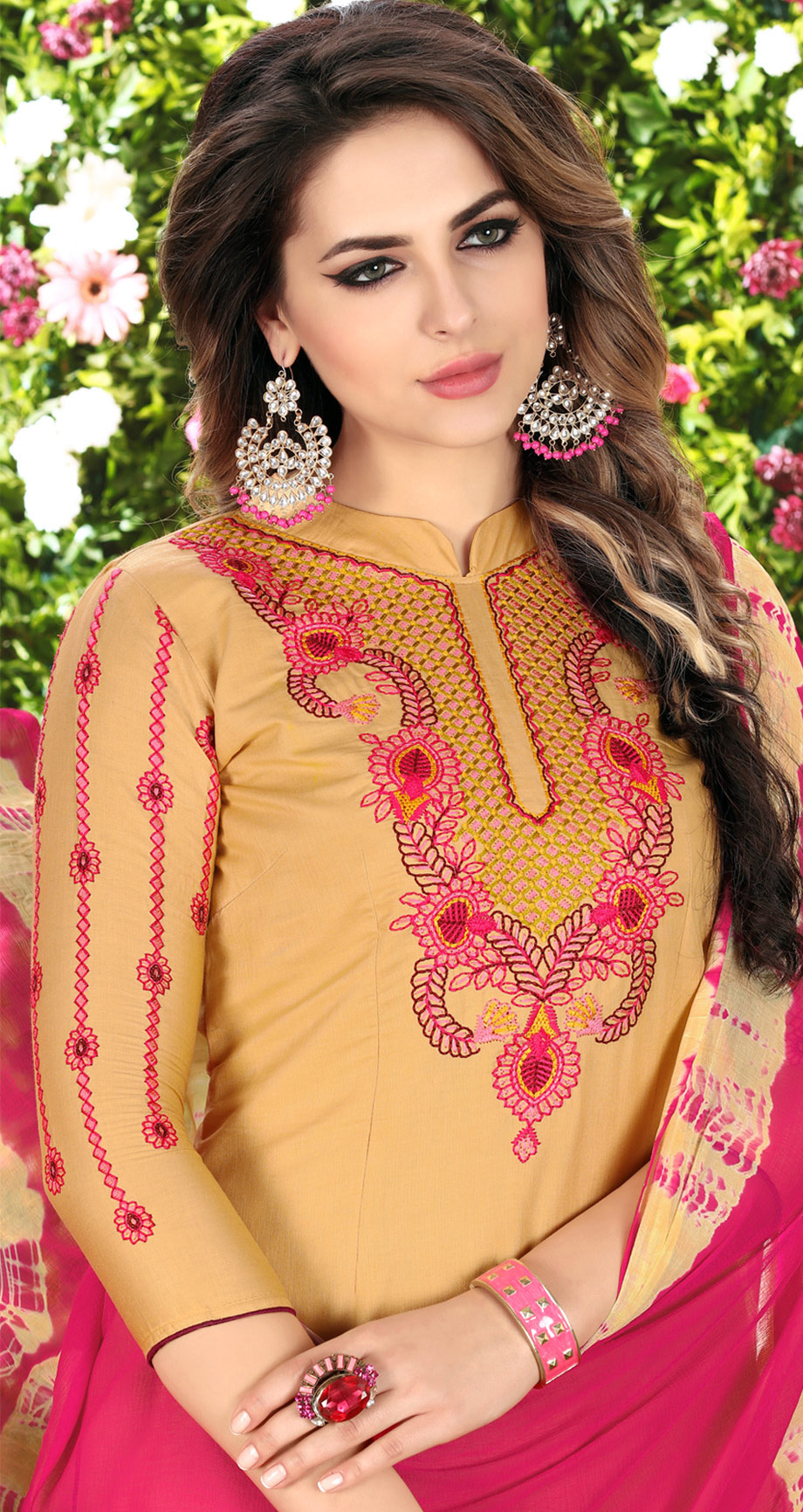 Lovely Cream Designer Embroidered Partywear Glaze Cotton Patiala Suit