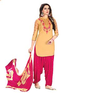 Lovely Cream Designer Embroidered Partywear Glaze Cotton Patiyala Suit