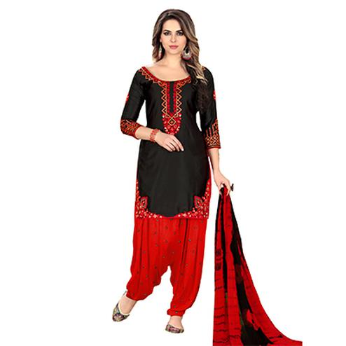 Sizzling Black Designer Embroidered Partywear Glaze Cotton Patiala Suit