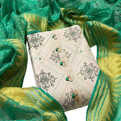 Pleasance White - Green Colored Partywear Embroidered Khadi Cotton Dress Material