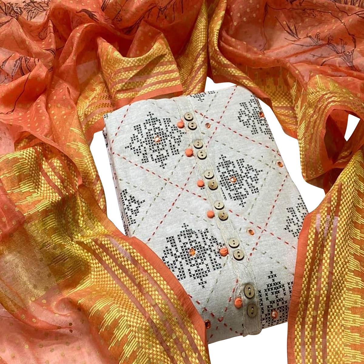 Breathtaking White - Orange Colored Partywear Embroidered Khadi Cotton Dress Material