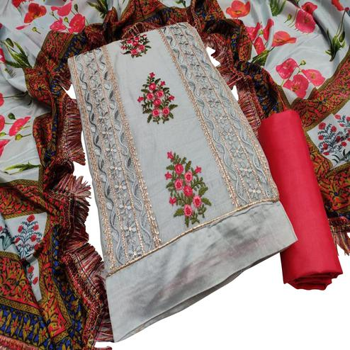 Ravishing Light Grey Colored Partywear Embroidered Chanderi Cotton Dress Material
