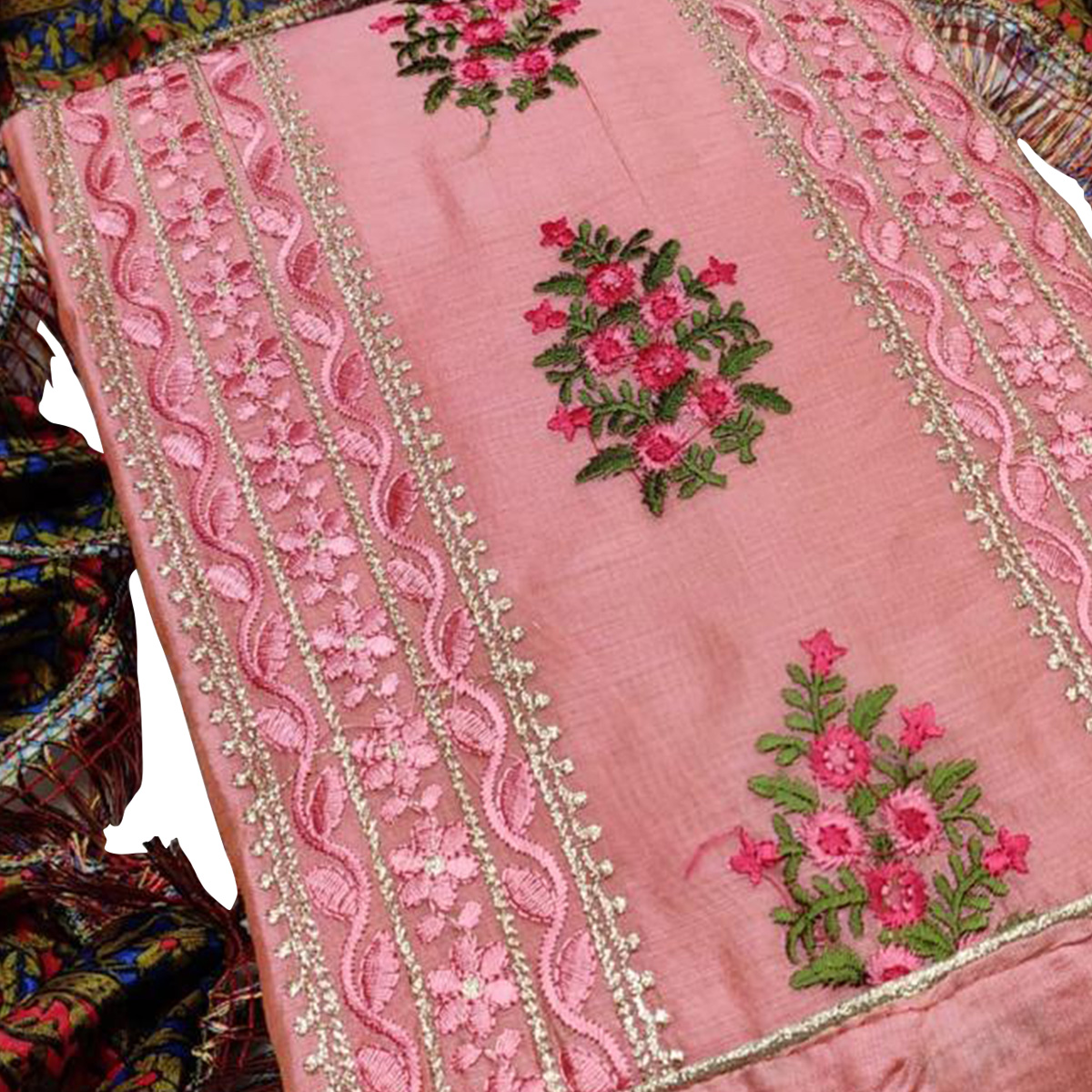 Staring Pink Colored Partywear Embroidered Chanderi Cotton Dress Material